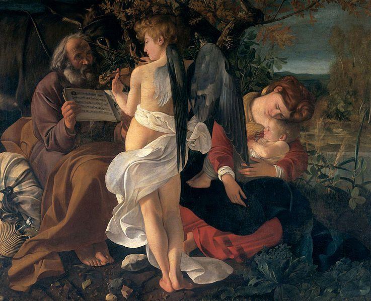 Michelangelo Merisi da Caravaggio Die Ruhe auf der Flucht nach Ägypten (1594-1596) huile sur toile, 130 × 160 cm Galleria Doria Pamphilj, Roma Auftraggeber: Monsignor Fantino Petrignani