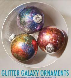 Glitter Galaxy DIY Ornaments | best stuff