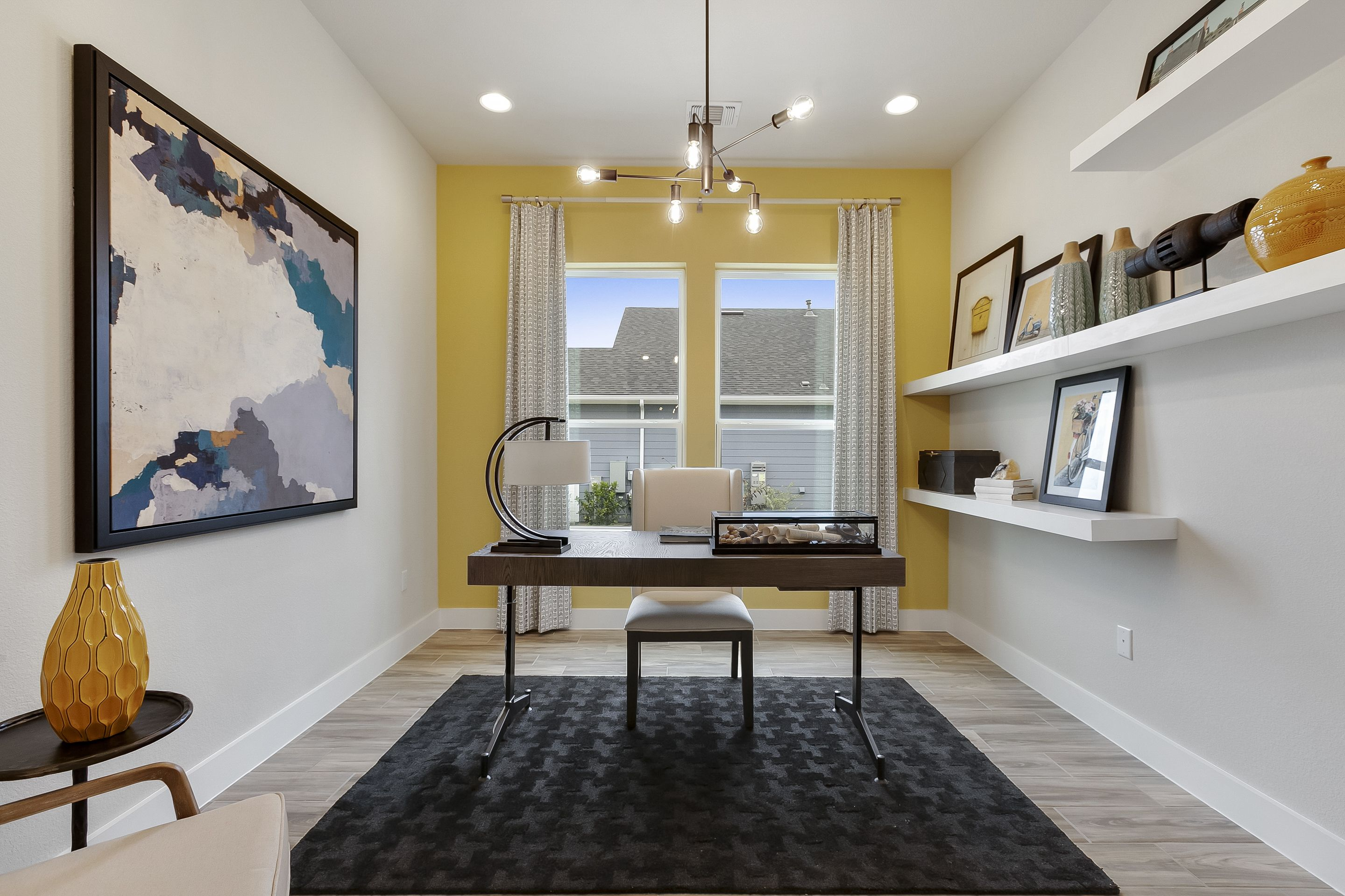 Lemon Yellow Home Office With Floating Shelves Yellow Home Offices Yellow Accent Walls Home
