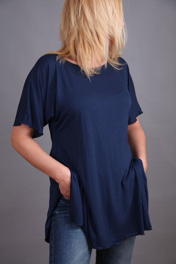 Navy blue long tunic with short sleeves by Comfortissimo on Etsy, $30.00