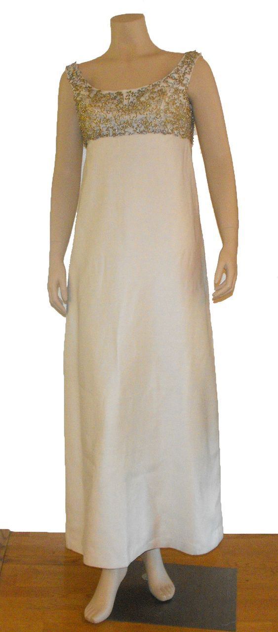 Vintage 1960's Beaded Shantung Silk Gown with Swag Back