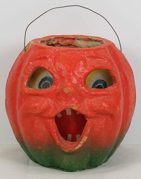 Vintage Halloween Paper Mache Pumpkin Jack O Lantern With Original Insert Ebay Halloween Candy Bowl Halloween Jack O Lanterns Vintage Halloween
