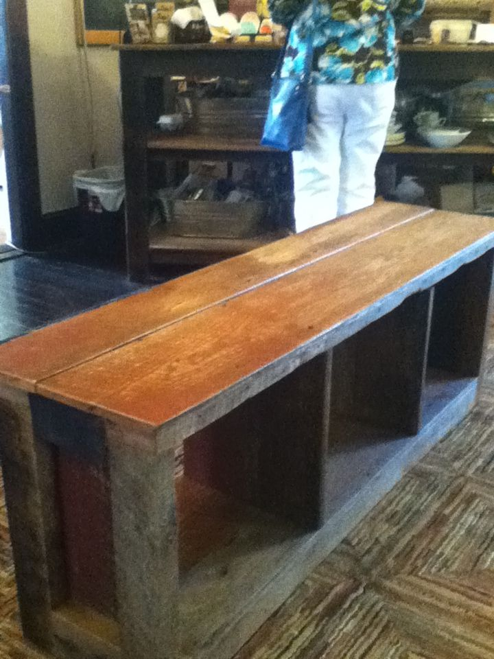 Barnwood Bench With Storage Underneath For Baskets Backpacks