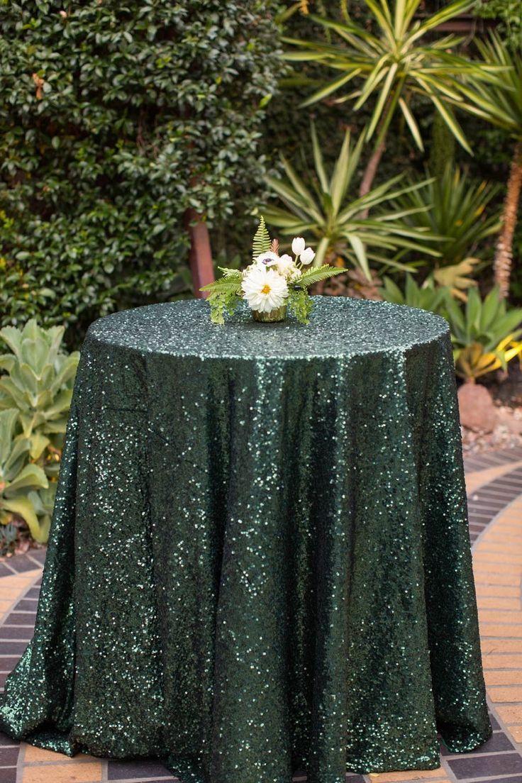 Emerald Green Sequin Tablecloth