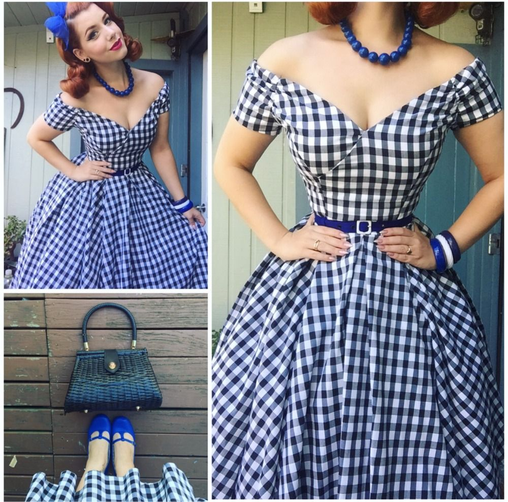 6a6f9dbc393fa Aliexpress.com   Buy summer women vintage 50s black white gingham off  shoulder swing midi dress rockabilly pin up vestidos plus size dresses  jurken from ...