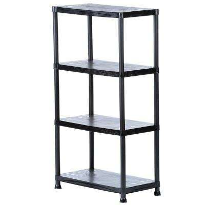 4 Shelf 15 In D X 28 In W X 52 In H Black Plastic Storage