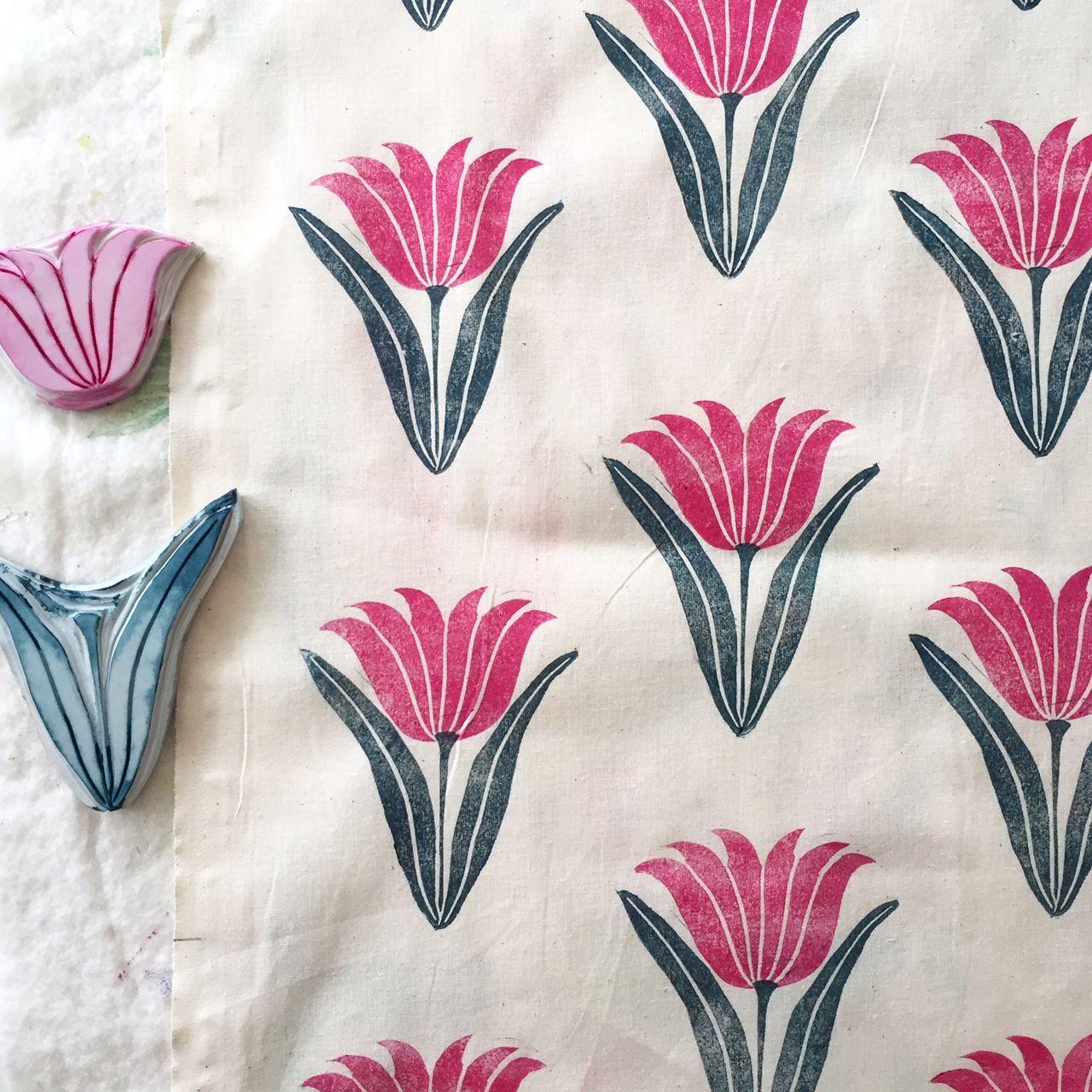 Tulips Print By Jen Hewett Block Printing Fabric Handmade