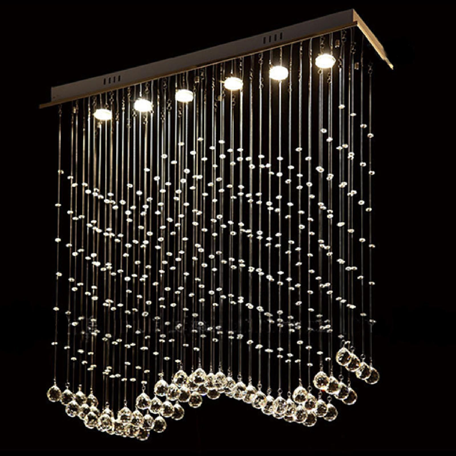 Byb New Wave Raindrop Crystal Chandelier Rain Drop Design Led Lighting H100 W25