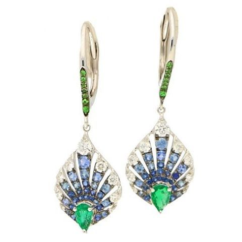 peacock inspired drop earrings.