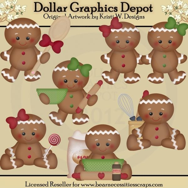 Gingerbread Christmas Clip Art *DGD Exclusive* - Created by Kristi W ...