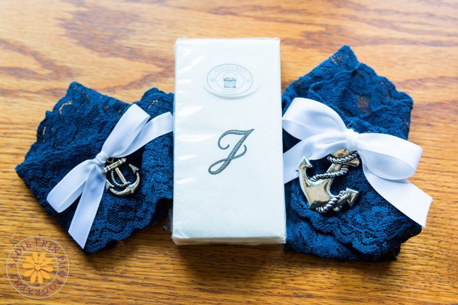 Weddings | New England Wedding Photographer #weddingphotography #detailshot #nauticalwedding #garters #monogramtissues #naturallight #SadieErinPhotography