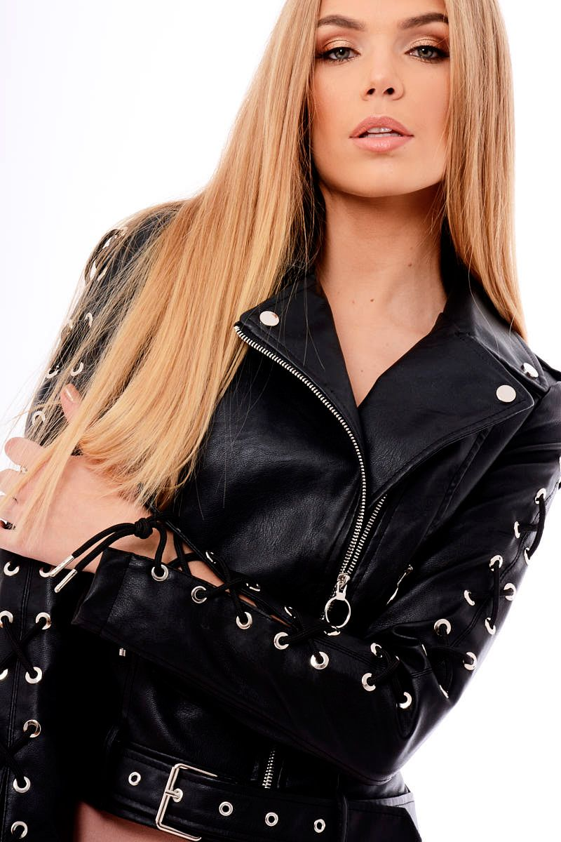 7f570a5ac87 Black Faux Leather Lace Up Biker Jacket - Maisy