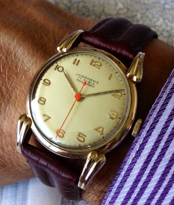 Stunning C1950 Junghans 17 Jewel Arched Lug Gold Plated