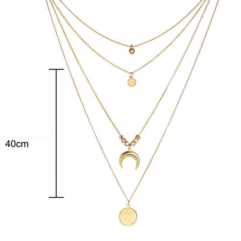 SOHOT Fashion Multi Layers Necklace Stick Pendant Choker Gold Silver Color
