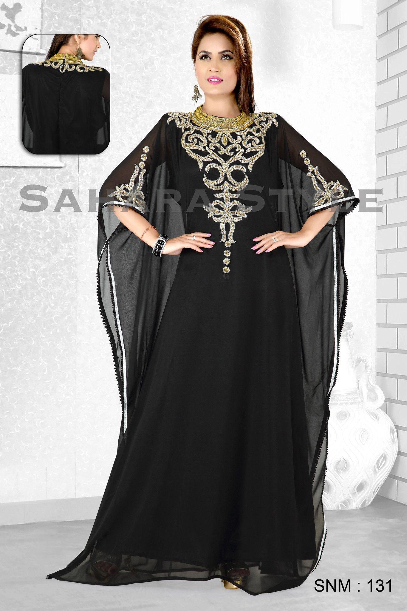 Embellished Arabian colorful kaftan jilbab photo