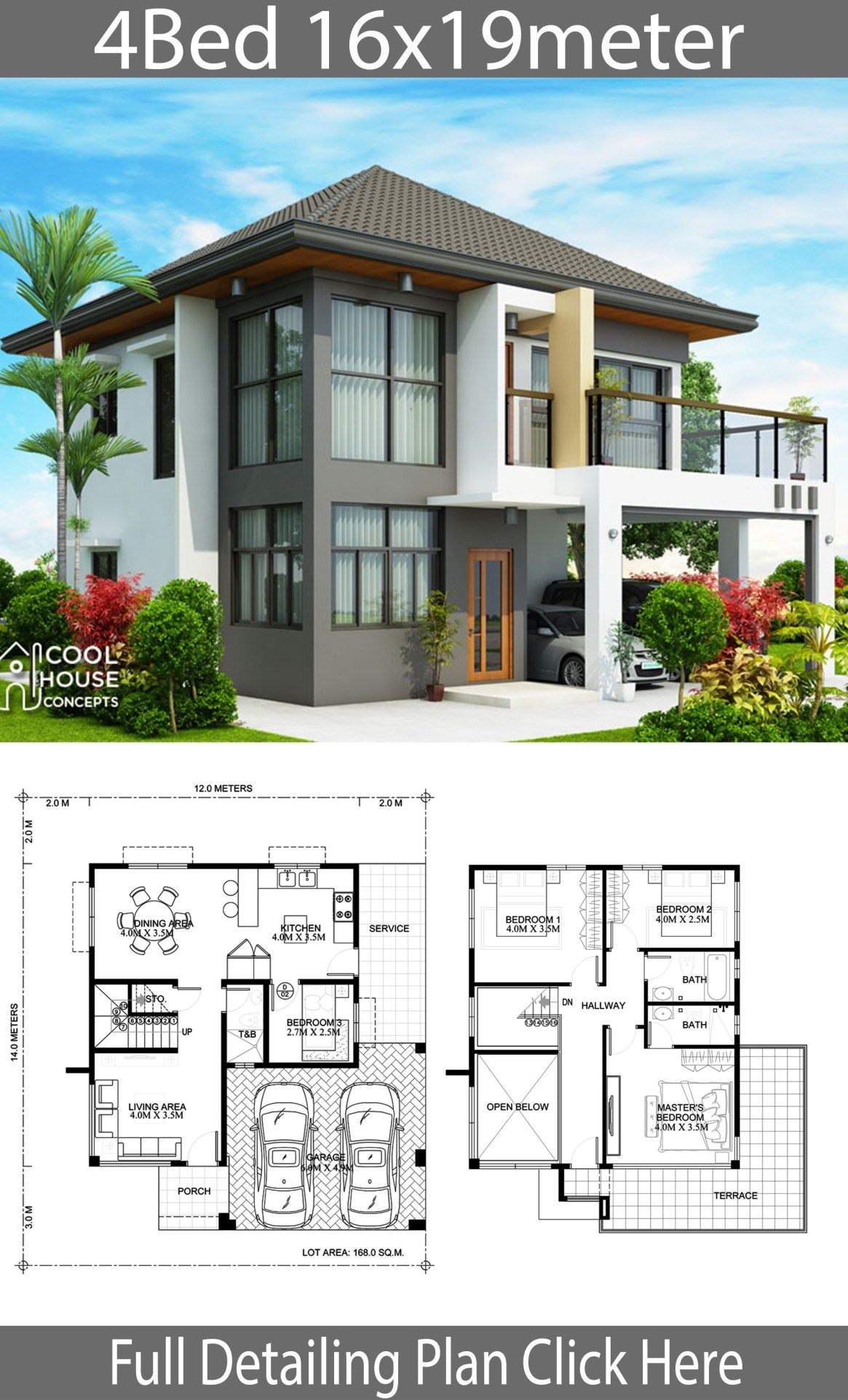 Home design plan 16x19m with 4 Bedrooms is part of Home design plan - Home design plan 16x19m with 4 Bedrooms House descriptionOne Car Parking and gardenGround Level Living room, One Bedroom, Dining room,