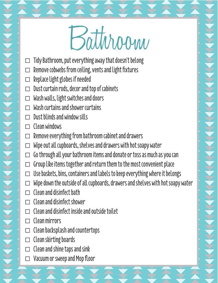 Bathroom spring cleaning checklist c/- forever organised ...