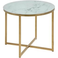 Photo of Ac Design Alisma Coffee Table Ø50x42cm White Print Marble / Gold