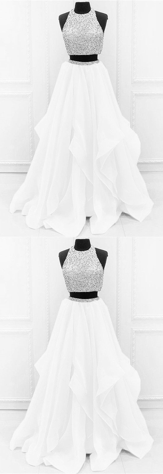 White organza ruffles two piece prom dresses ball gowns sequins and
