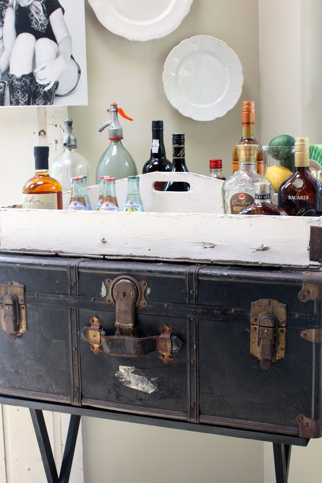 Bar Cart Ideas  Put A Suitcase And Tray On A Folding Butleru0027s Table!