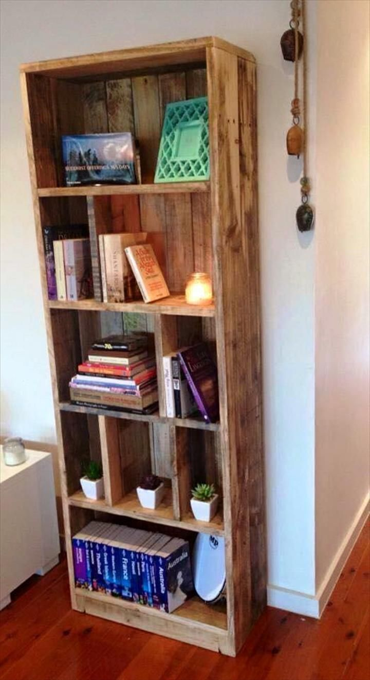 Pallet Display Tower Bookcase 20 Recycled Pallet Ideas Diy  ~ Armario De Cozinha Com Paletes