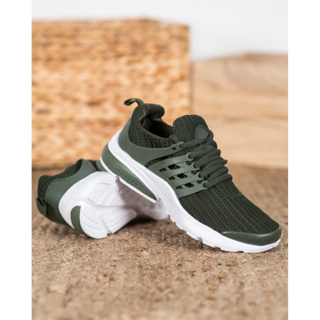Shelovet Tekstylne Obuwie Sportowe Khaki Sneakers Nike Nike Huarache Shoes