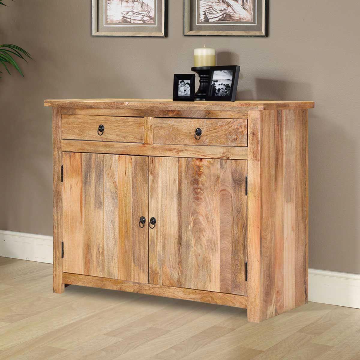 Waldo Rustic Mango Wood 2 Drawer Storage Buffet Cabinet #BathroomCabinetWall