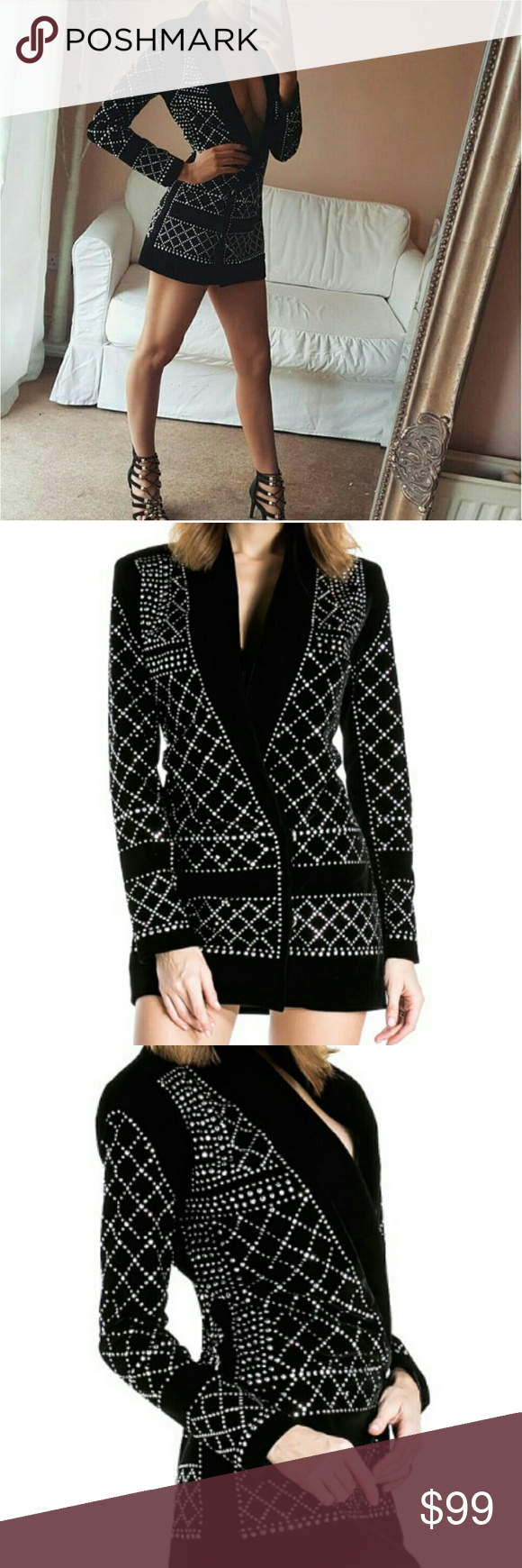 4483c5880783 Studded rhinestone blazer dress Black velvet studded blazer dress. So  gorgeous! Ordered from a site that didn't take return and fit wasn't quite  right.