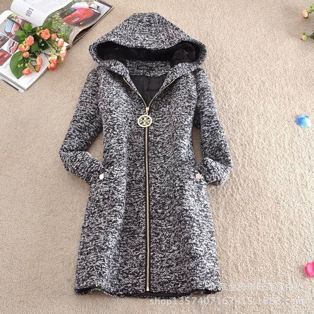f2ea29e4c3 Venda quente 2015 outono inverno nova moda europeus e americanos estilo  longo casaco de lã casaco de lã de moda com capuz C0087
