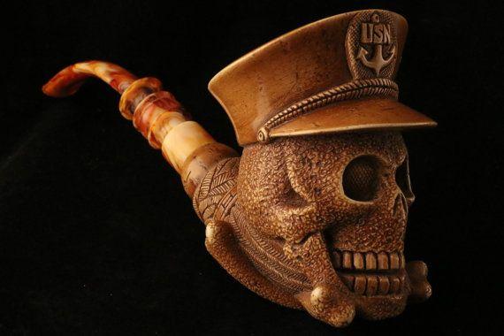 Sailor Skull USN US Navy Block Meerschaum Pipe di MeerschaumMarket