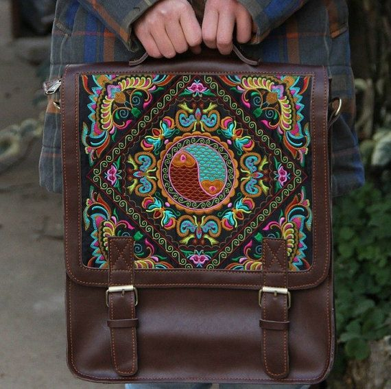 Genuine Leather Backpack  Embroidered Backpack  by photolifestyle,£55.37