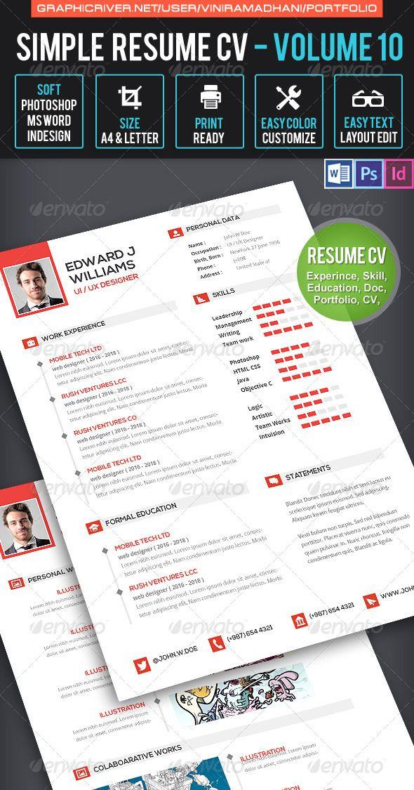 Clean Resume CV Volume 10 Resume cv, Cv template and Template - clean resume template word