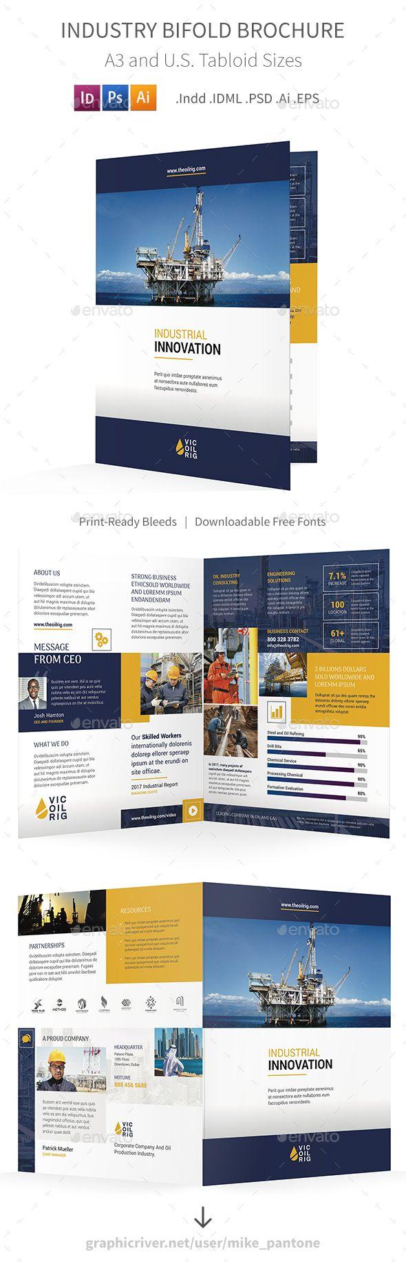 Industry Bifold / Halffold Brochure Template PSD, Vector EPS ...