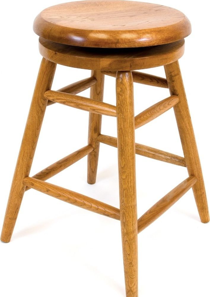 Solid Medium Oak Backless Saddle Swivel 24 Inch Counter Height Barstool New