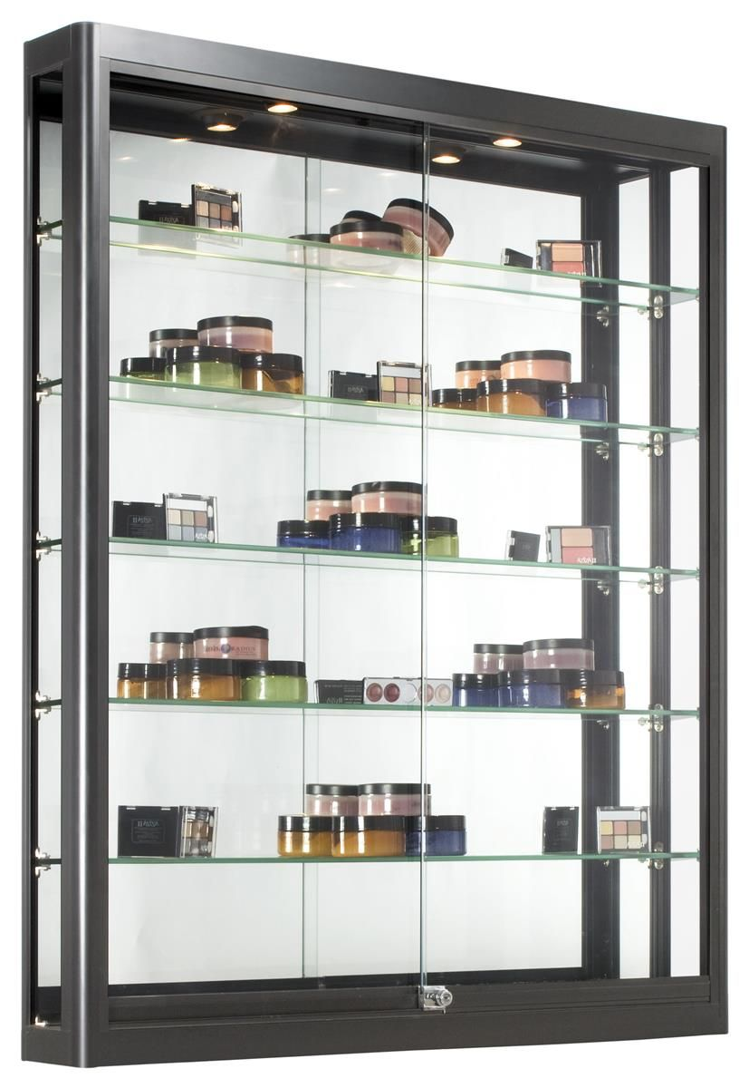 3x4 Wall Mounted Display Case W Slider Doors Mirror Back Locking Black Wall Mounted Display Case Wall Display Case Glass Shelves Wall display case with glass doors
