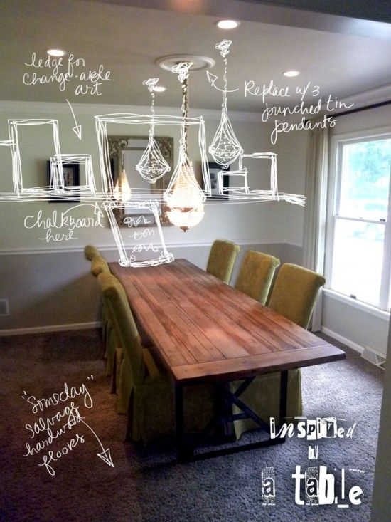 Farmhouse Table Pushed Against Wall Large Dining Room Table