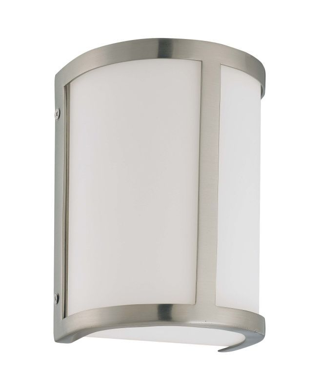 """Photo of Nuvo Lighting 60/2868 Brushed Nickel Odeon Single Light 8 """"Tall Wall Sconce with Frosted Glass Shade"""