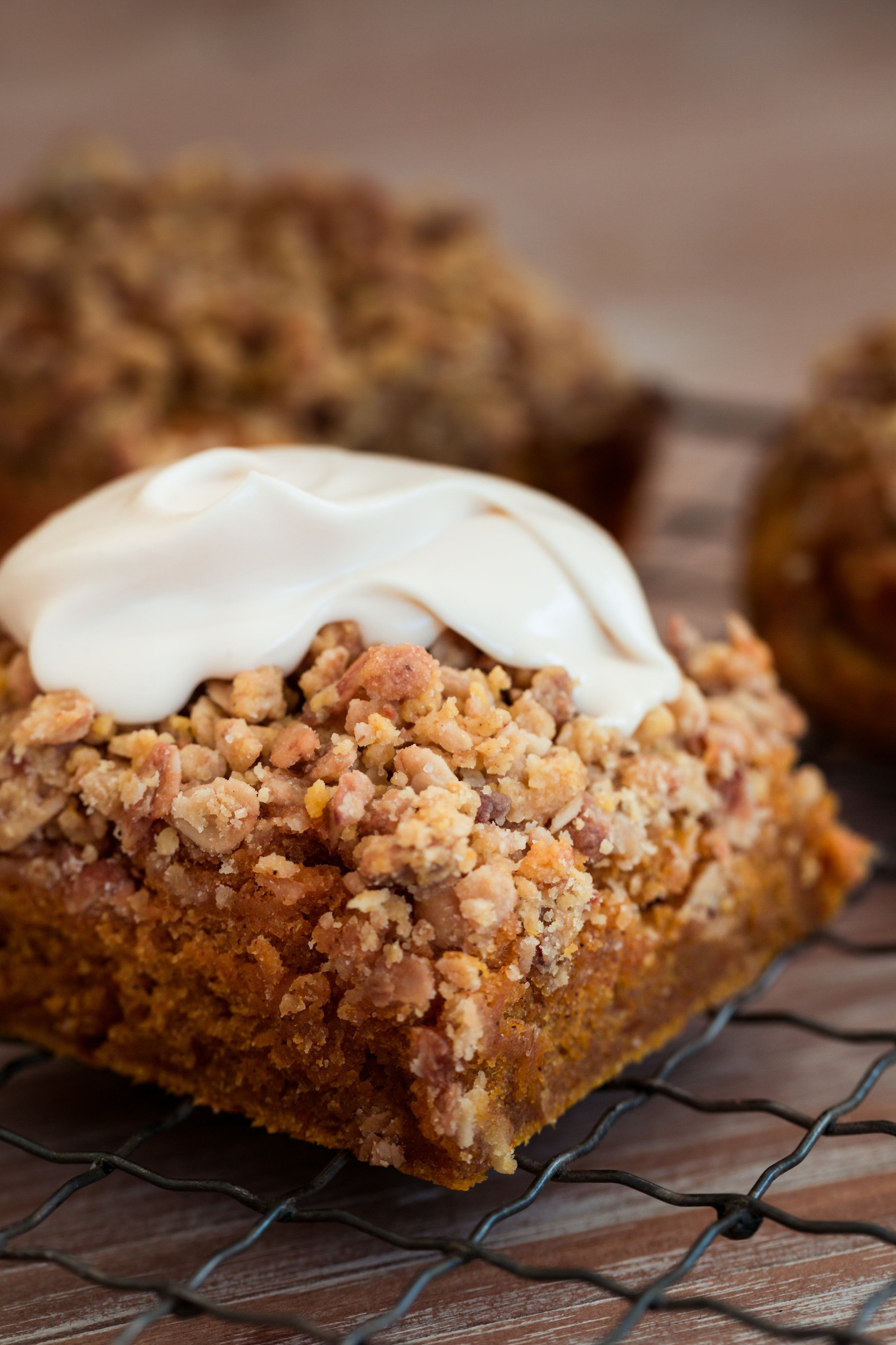 Pumpkin Coffee Cake with Granola Streusel and Cream Cheese