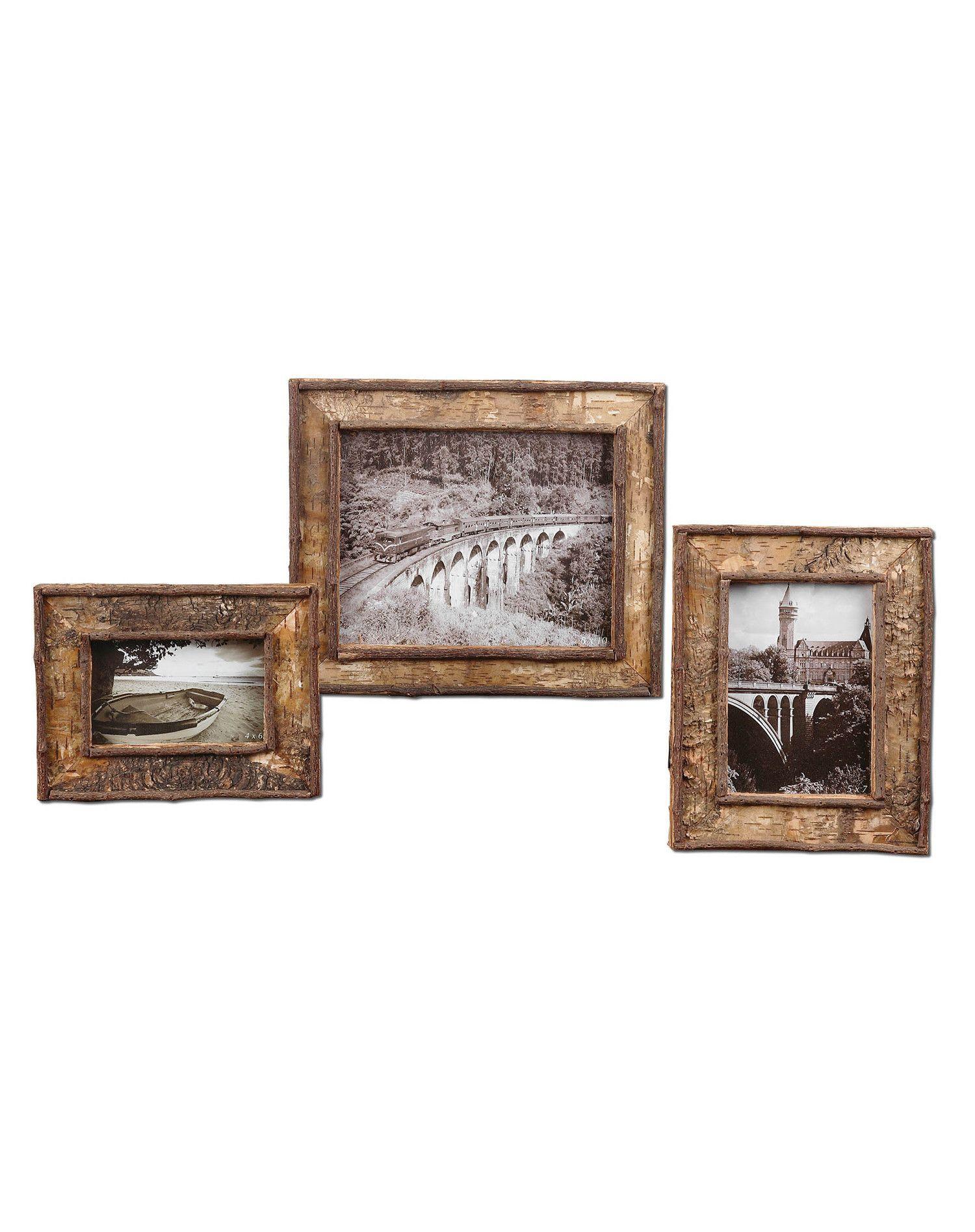 Birch Bark Photo Frames Set 3 | birch bark frames | Pinterest ...