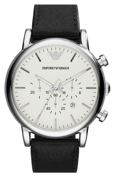 01ca2893cd5 Men s Emporio Armani Chronograph Leather Strap Watch
