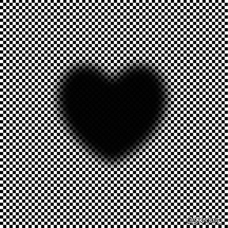 """Heart with Troxler's fading effect. Blur induces a strong self-moving effect. The solid central """"black heart"""" is not expanding at all, as it is rather the outer blurred surrounding that is slowly shrinking (in fact, disappearing) due to unvarying visual stimulus, giving the impression the solid black heart expands. © Gianni A. Sarcone, giannisarcone.com"""