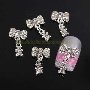 100pcs Bling Rhinestone Bow Ties with Pendant 3D Alloy Nail Art Tips Stickers