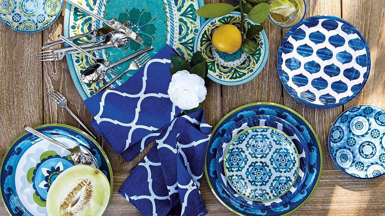 Geo Suzani Melamine Dinner Plates Set of Four & Vibrant Mix-and-Match Melamine Dinnerware | ENTERTAINING: Outdoor ...
