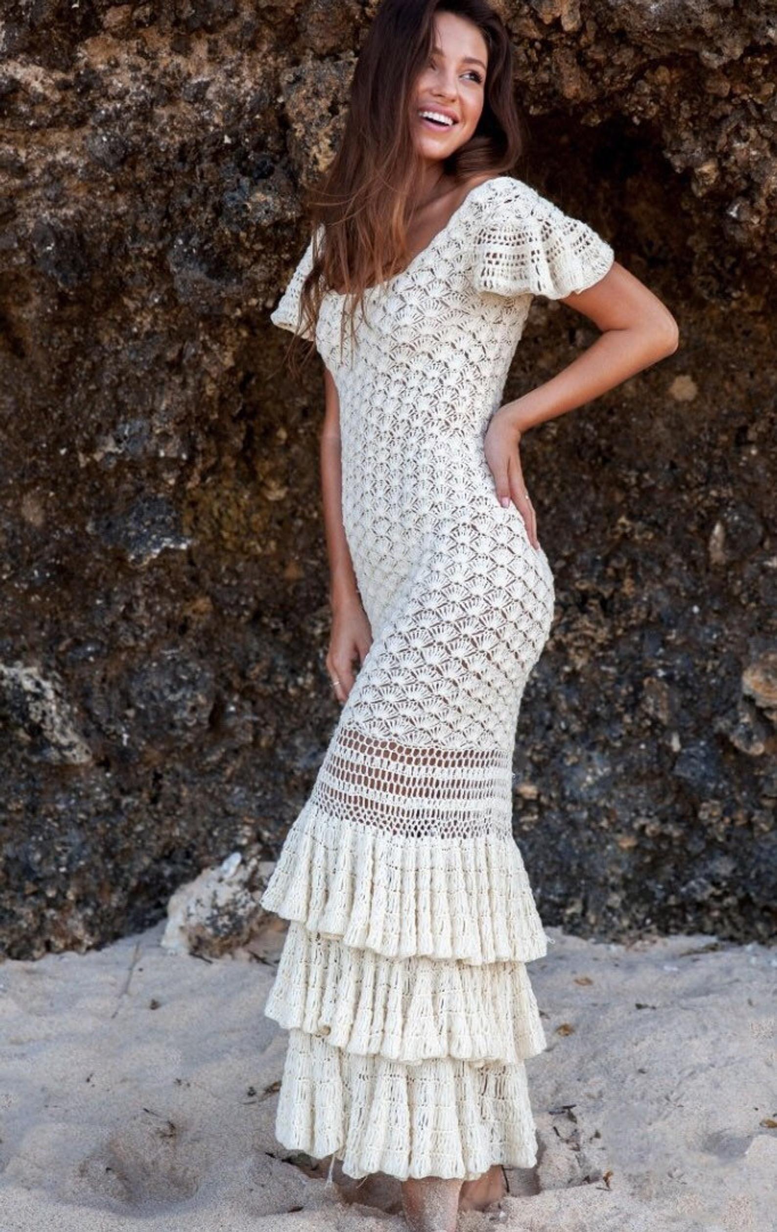 Crochet Mermaid Maxi Ruffles Dress Wedding Dress Evening Etsy Crochet Wedding Dresses Crochet Short Dresses Crochet Dress Pattern [ 2517 x 1588 Pixel ]