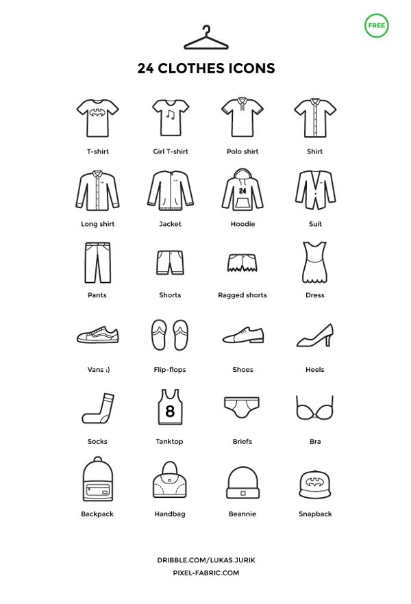 24 Free Clothes Icons | Free Icons | Icon design, Pictogram