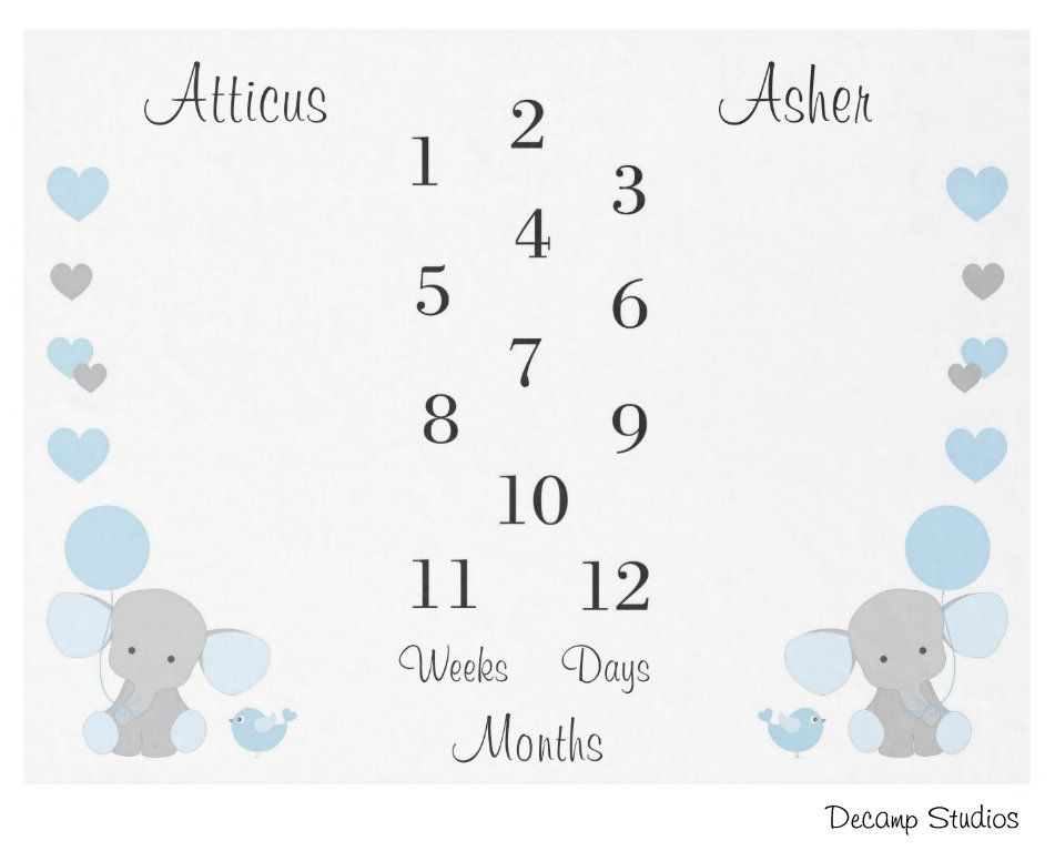 TWIN MONTHLY BLANKET Baby Boys Milestone Blue Elephant Month Newborn Growth Tracker - Photo Picture Prop - Personalized Baby Boy Shower Gift #babyboyblankets