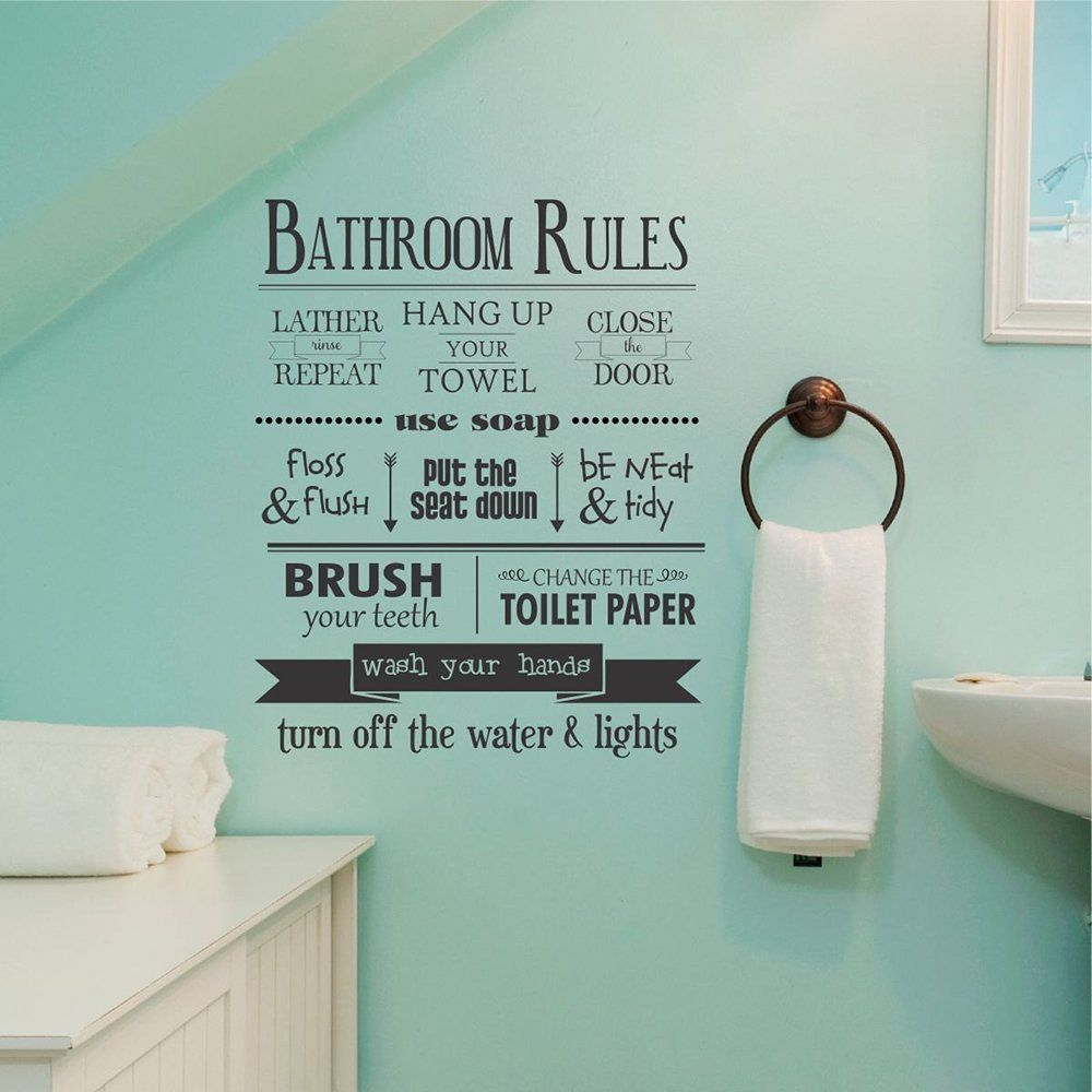 "Glass Letters For Wall Amazon Dnven 18""w X 22""h Bathroom Rules Lather Repeat Hand"