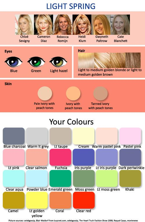 Color Chart For Hair Colors Gorgeous Spring Skin Tone Light Spring Colors Which Hair Colour