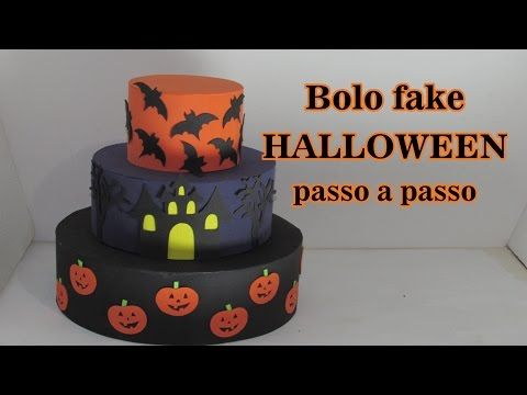Como fazer bolo fake HALLOWEEN passo a passo - YouTube