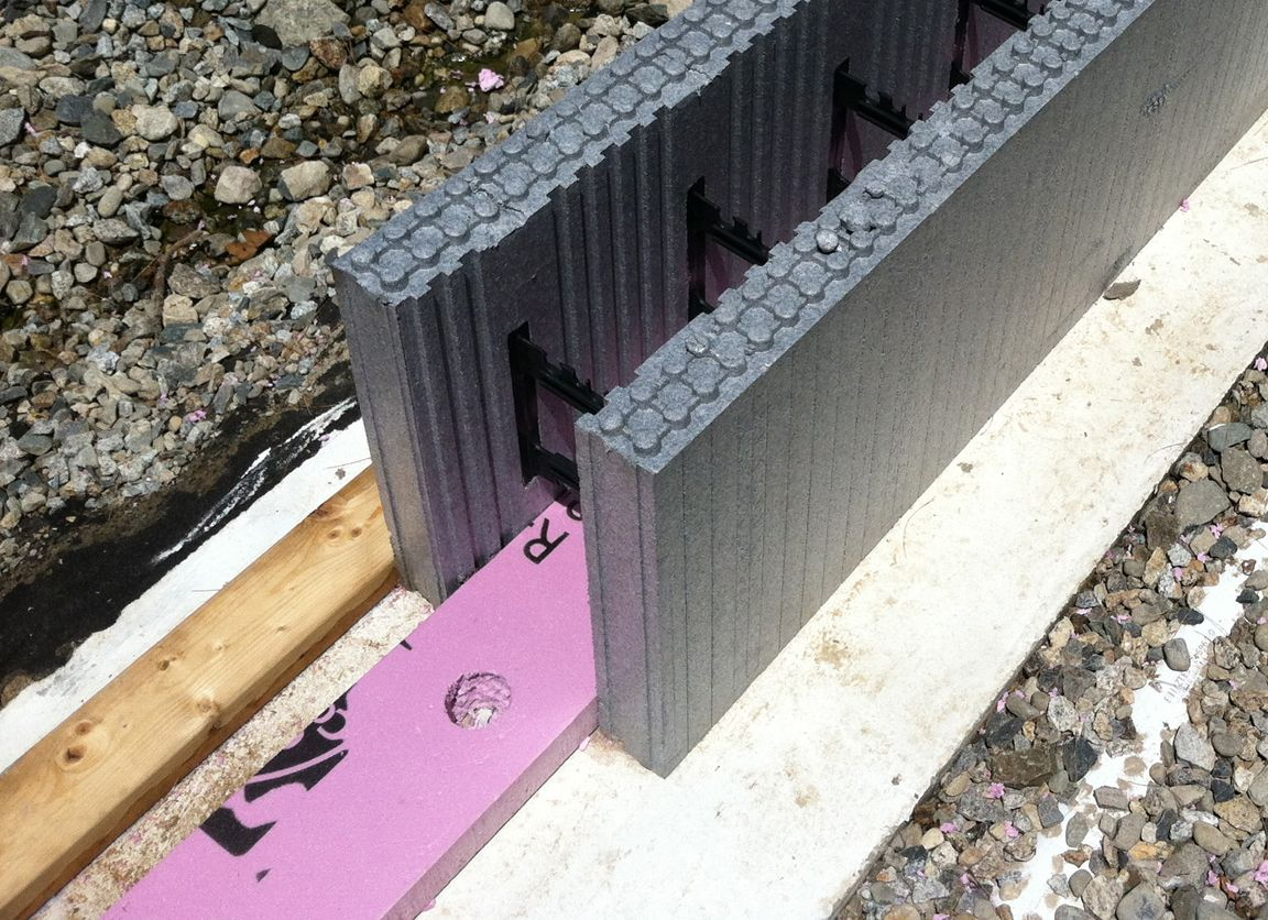 High density xps is used at the bottom of the icf wall as for Foam basement forms